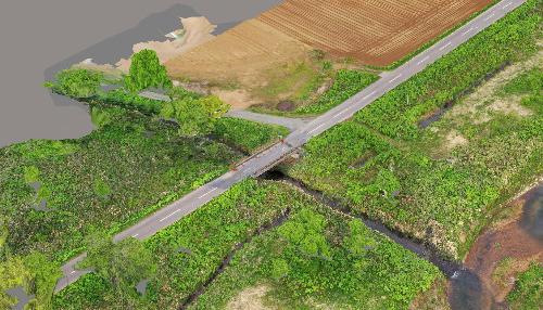 道路(橋梁)と河川3Dモデル